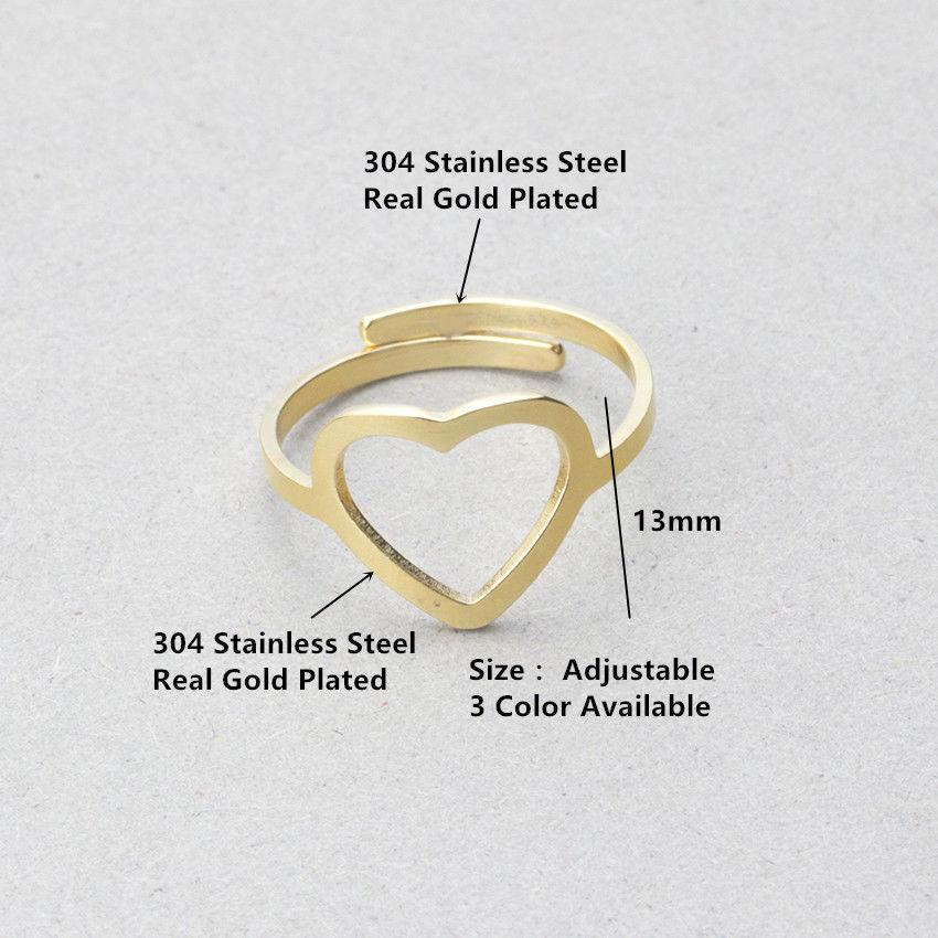 Edelstahl Ring Ringe Herz Heart Offen Verstellbar Silber Rosegold Filigran Boho